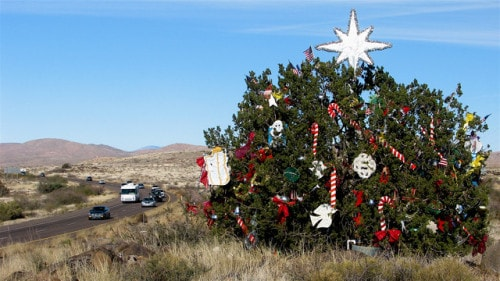 Christmas Tree In The Desert.I 17 From Phoenix To Flagstaff Large Christmas Tree In The